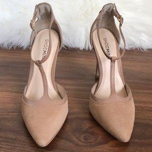 Shoemint Nude T-Strap Heels - US 5